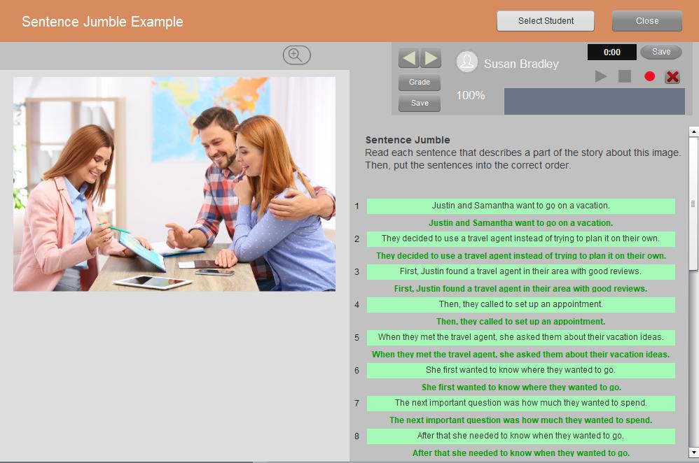 online language teaching platforms - Sentence Jumble Example